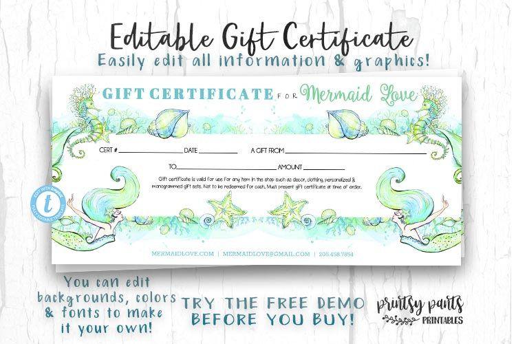 Editable Gift Certificate Mermaid Love Voucher Printable Gift Cert