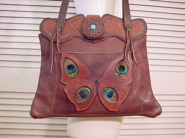 70s butterfly leather & peacock feather handbag