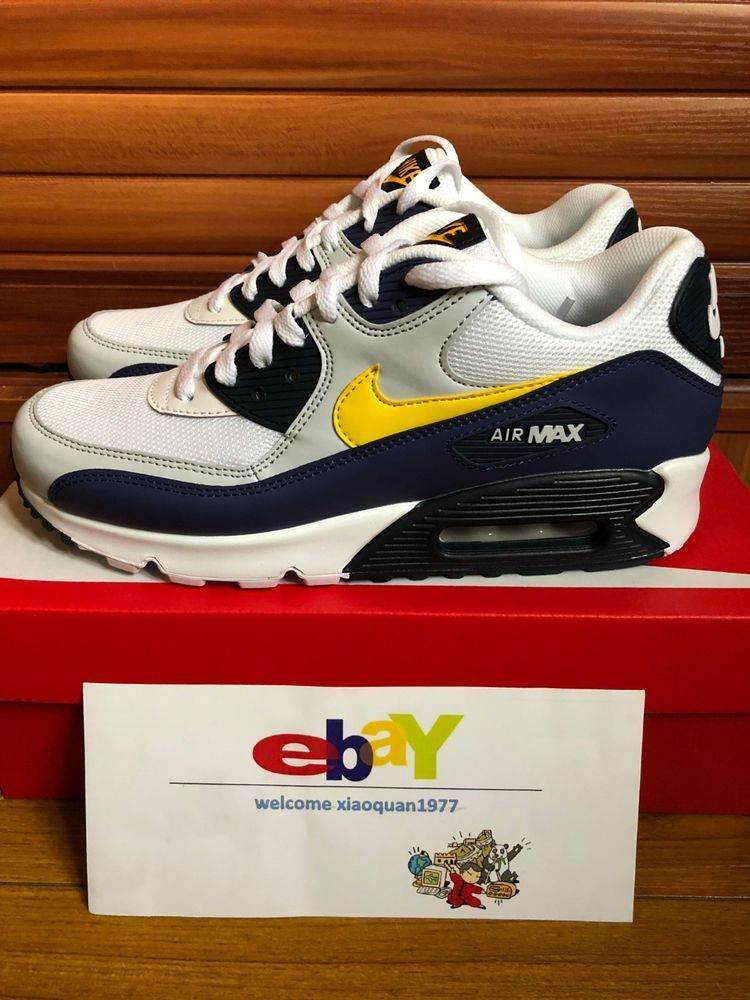 nike air max 90 essential white/tour yellow-blue recall