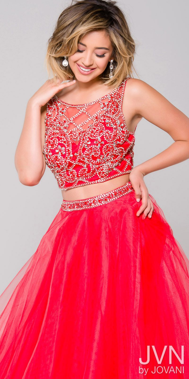 Crystal Embellished Two Piece Ball Gown from JVN by Jovani #edressme ...