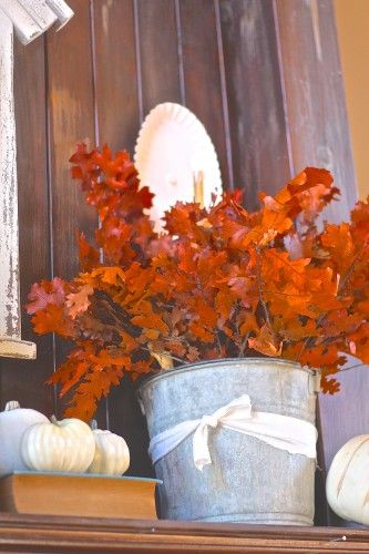 vintage bucket with fall foliage