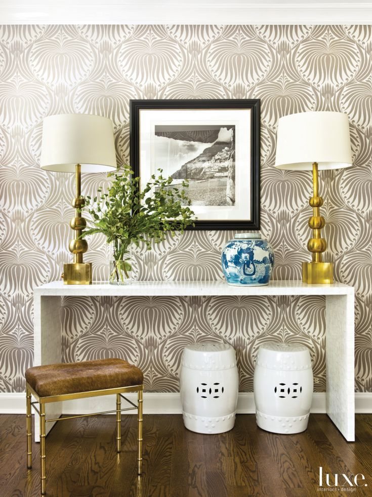 Modern Foyer Wallpaper : Modern neutral foyer with printed wallpaper make an