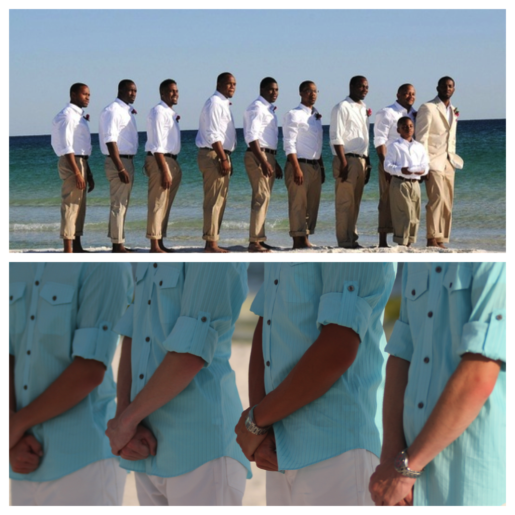 khaki (or white) pants and tiffany blue shirt for beach wedding ...