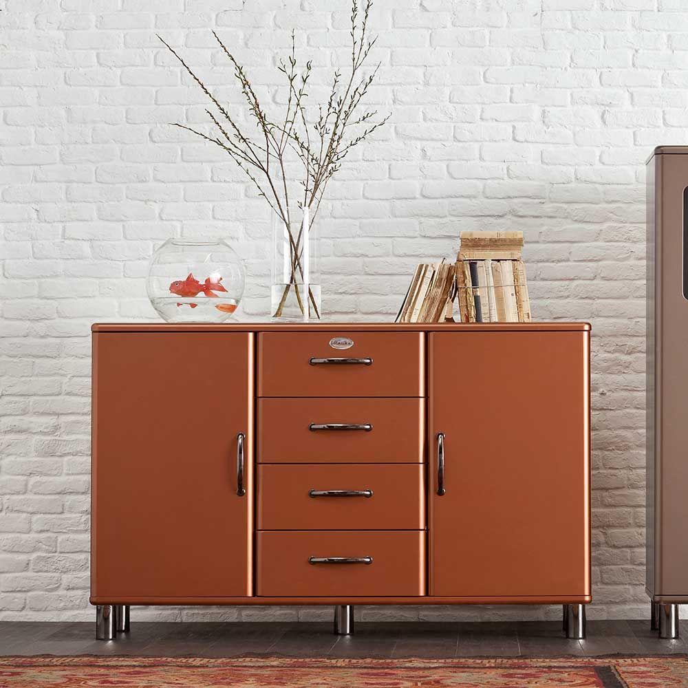 retro sideboard in kupfer braun modern sideboard. Black Bedroom Furniture Sets. Home Design Ideas