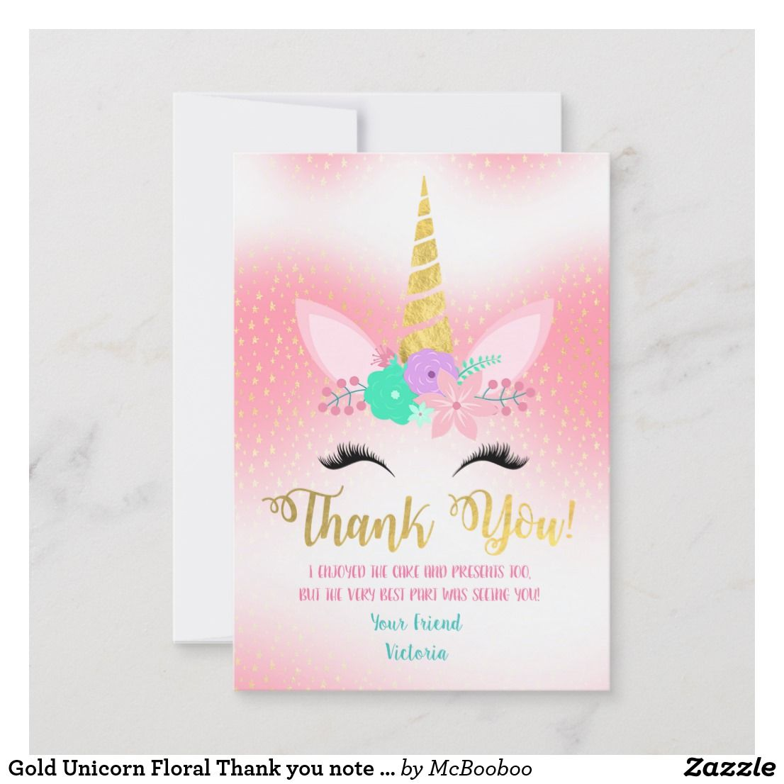 Gold Unicorn Floral Thank You Note Cards