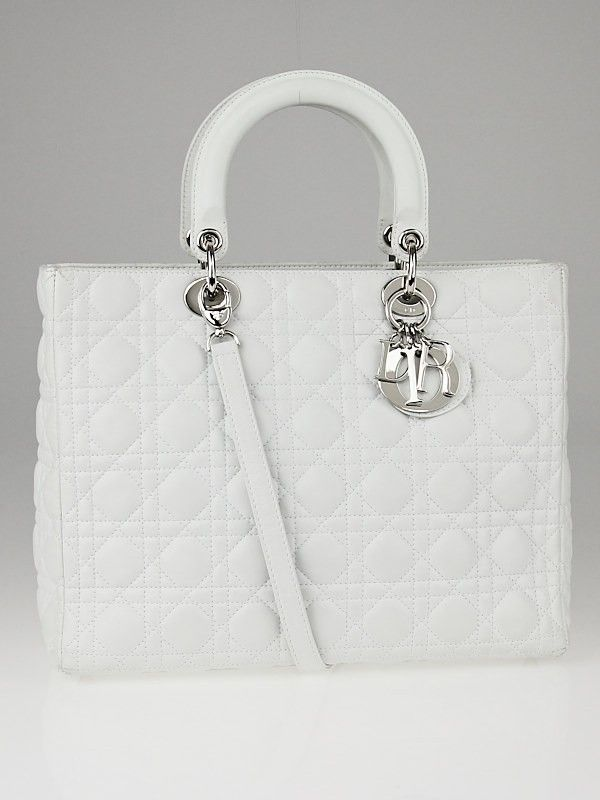 6e4f7e106e Christian Dior White Cannage Quilted Lambskin Leather Large Lady Dior Bag