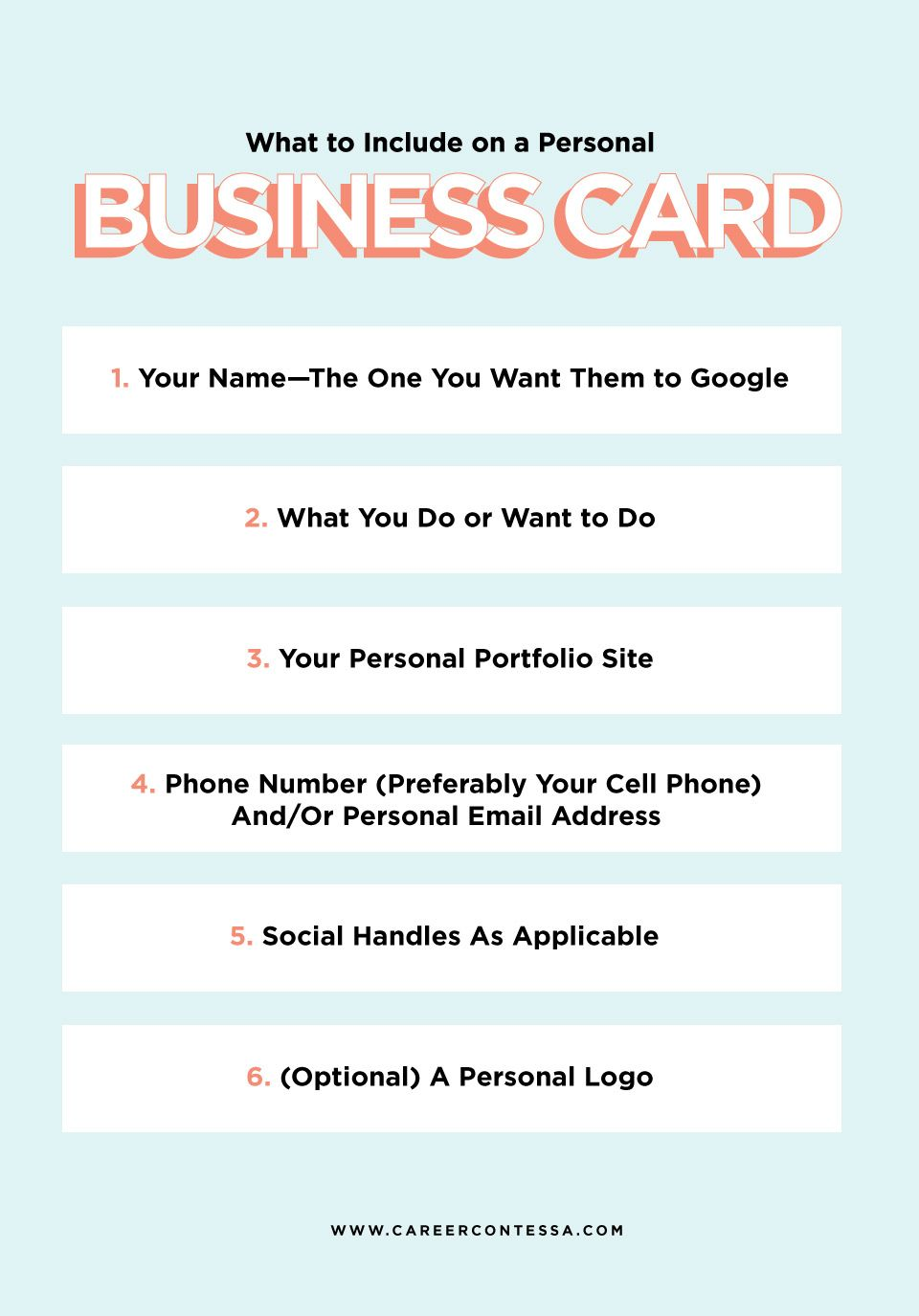 What To Put On A Personal Business Card A Template Career Contessa Student Business Cards Personal Business Cards Examples Of Business Cards