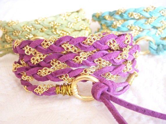 Suede/Chain Bracelet