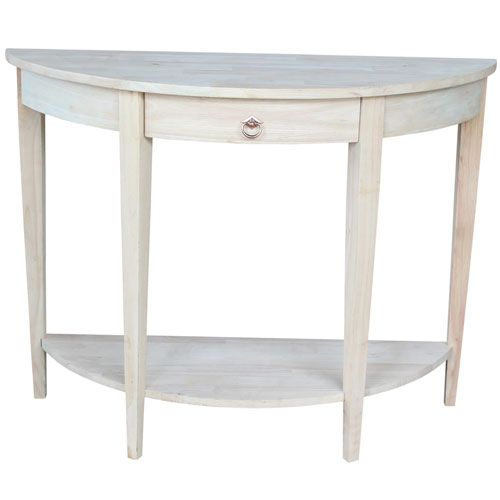 Small Half Moon Accent Tables | International Caravan Carved Small Half Moon  2 Tier Wall Table