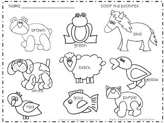 Class Name Chart Bear Coloring Pages Kindergarten Smorgasboard Preschool Colors