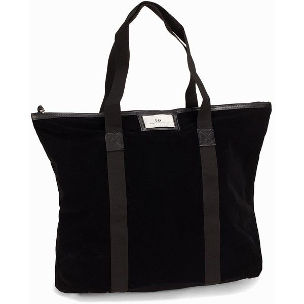 Day Birger Et Mikkelsen Day Gweneth Velvet Bag ($68) ❤ liked on Polyvore featuring bags, handbags, accessories, black, womens-fashion, day birger et mikkelsen, zipper bag, faux purses, logo bags and zip bag