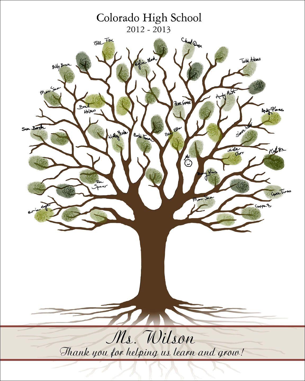 Teacher Fingerprint Tree, Teacher Appreciation Gift, Guest ...
