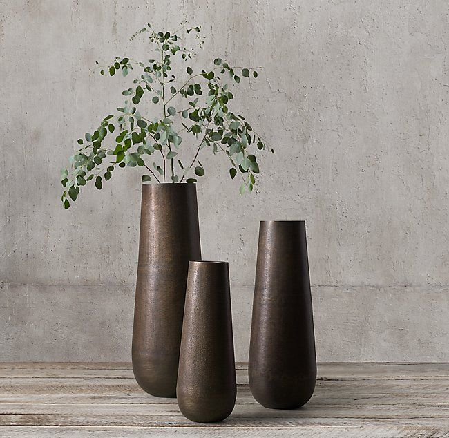 Grand Hammered Metal Floor Vase