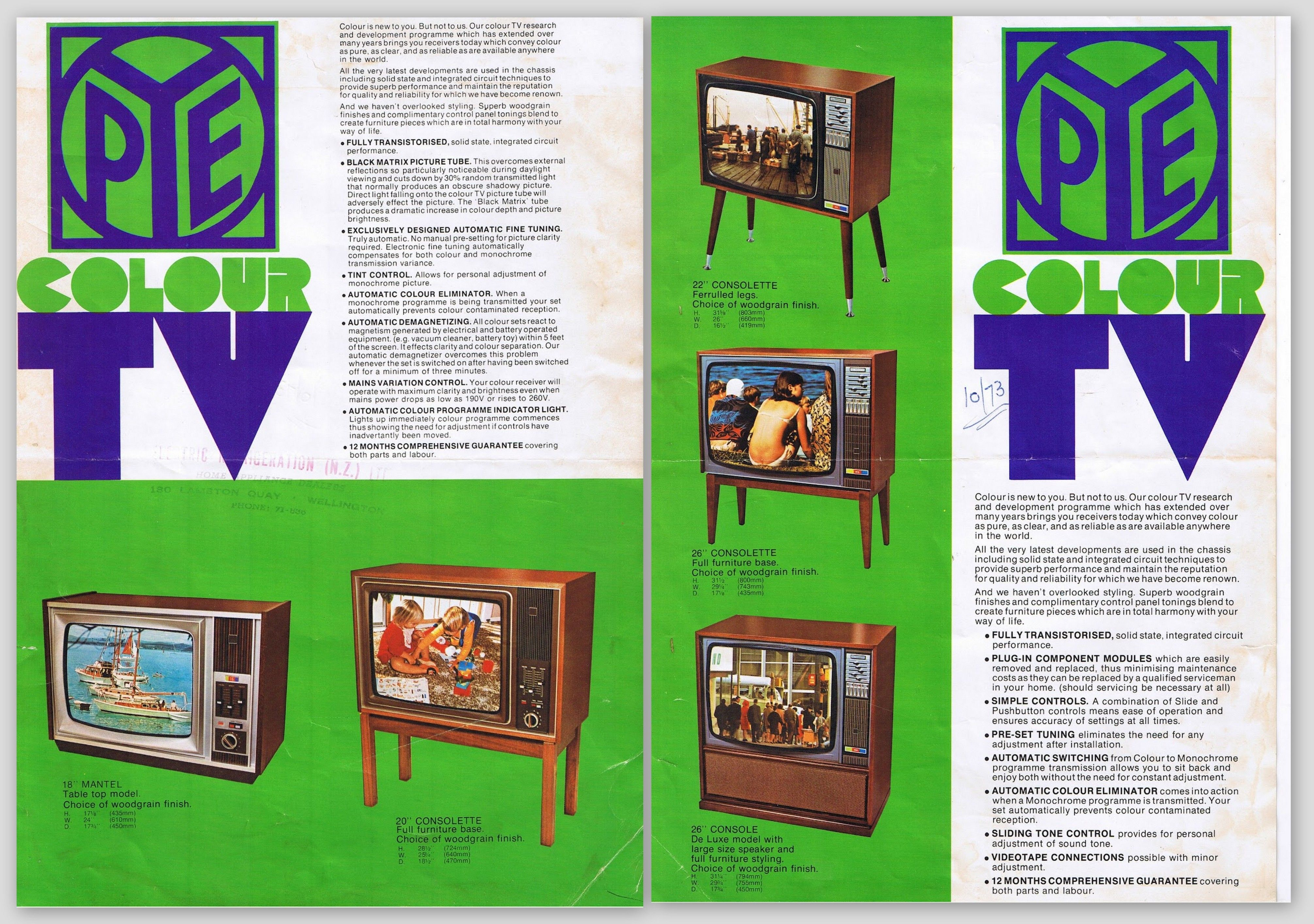 Pye Colour TV 1973 Brochure Just to note with the Pye brochure shows the re-badged Philips K9 sets and thankfully someone has written a date of 10/1973 on it. The two Pye sets on the first side are the early CT101 chassis, now virtually extinct.