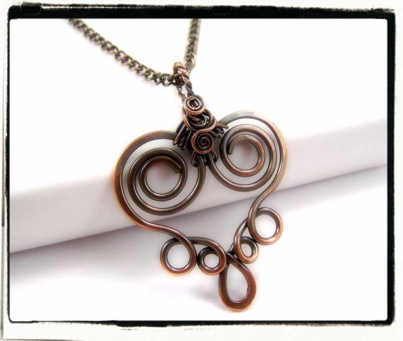 002 Antique Copper Filigree Heart Wire Wrapped by FashionWire, $19.99