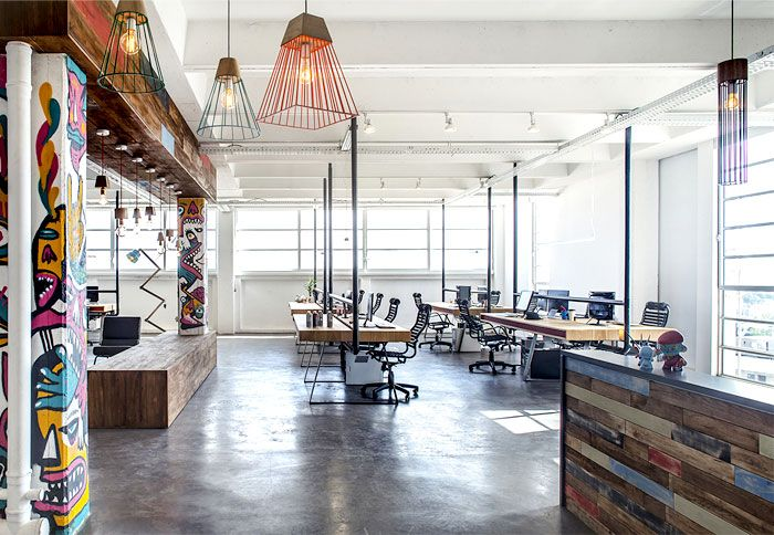 office clean white walls industrial ceiling