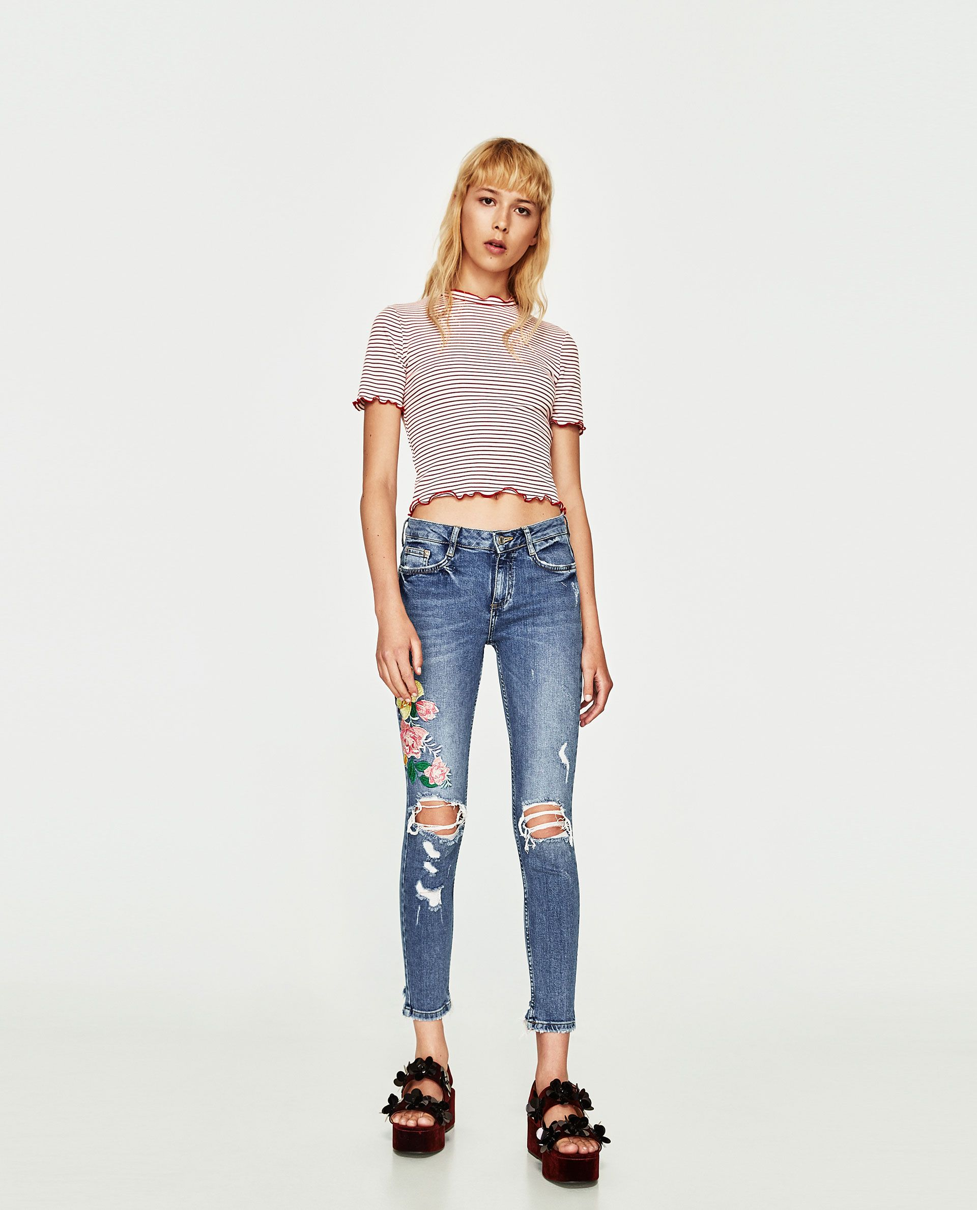 6e03cc2e99 JEANS CROPPED BORDADO TIRO BAJO | Summer | Embroidered jeans, Zara ...