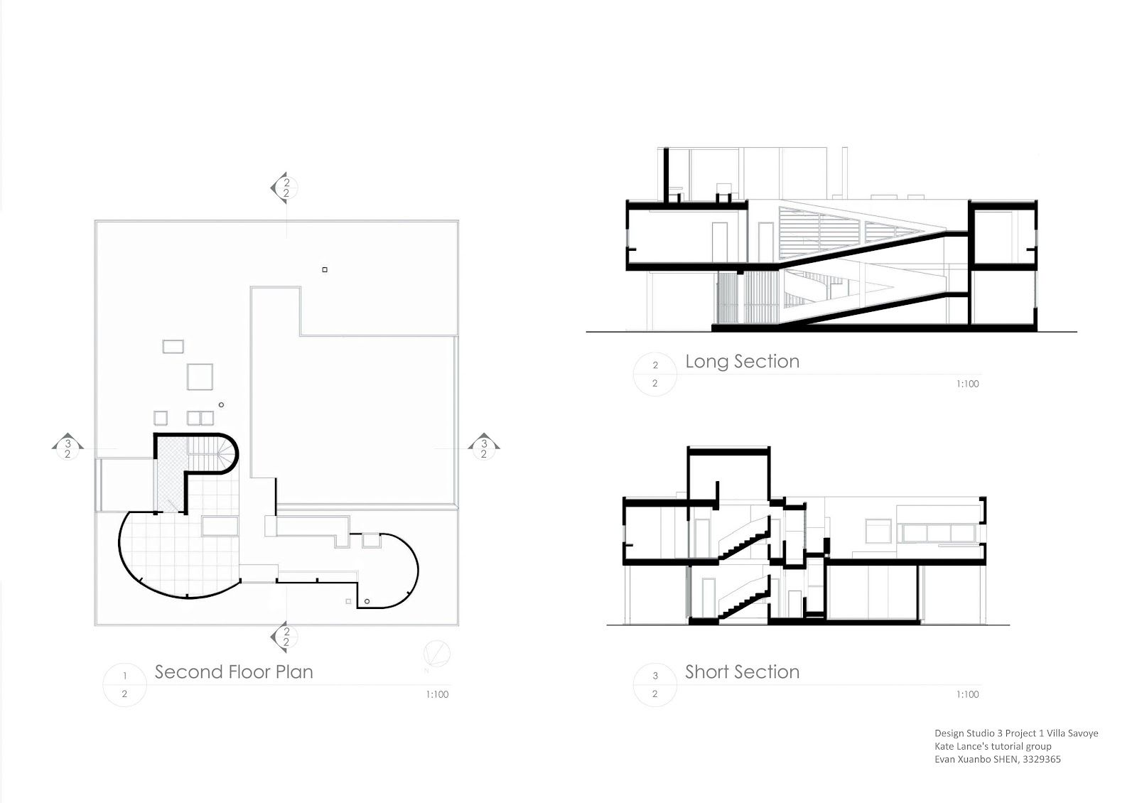 Dimensions Villa Savoye Section
