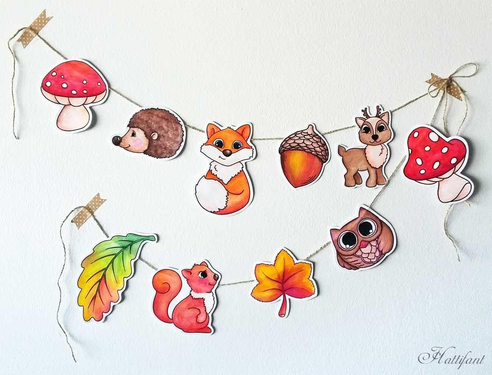 Hattifant Woodland Animal Garland Papercraft a color y en color ...