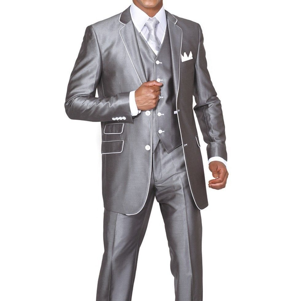 New Men/'s 2 piece  Classic Luxurious Wool Feel Suits Solid 5802