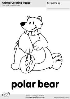 Free polar bear coloring page from Super Simple Learning Tons of