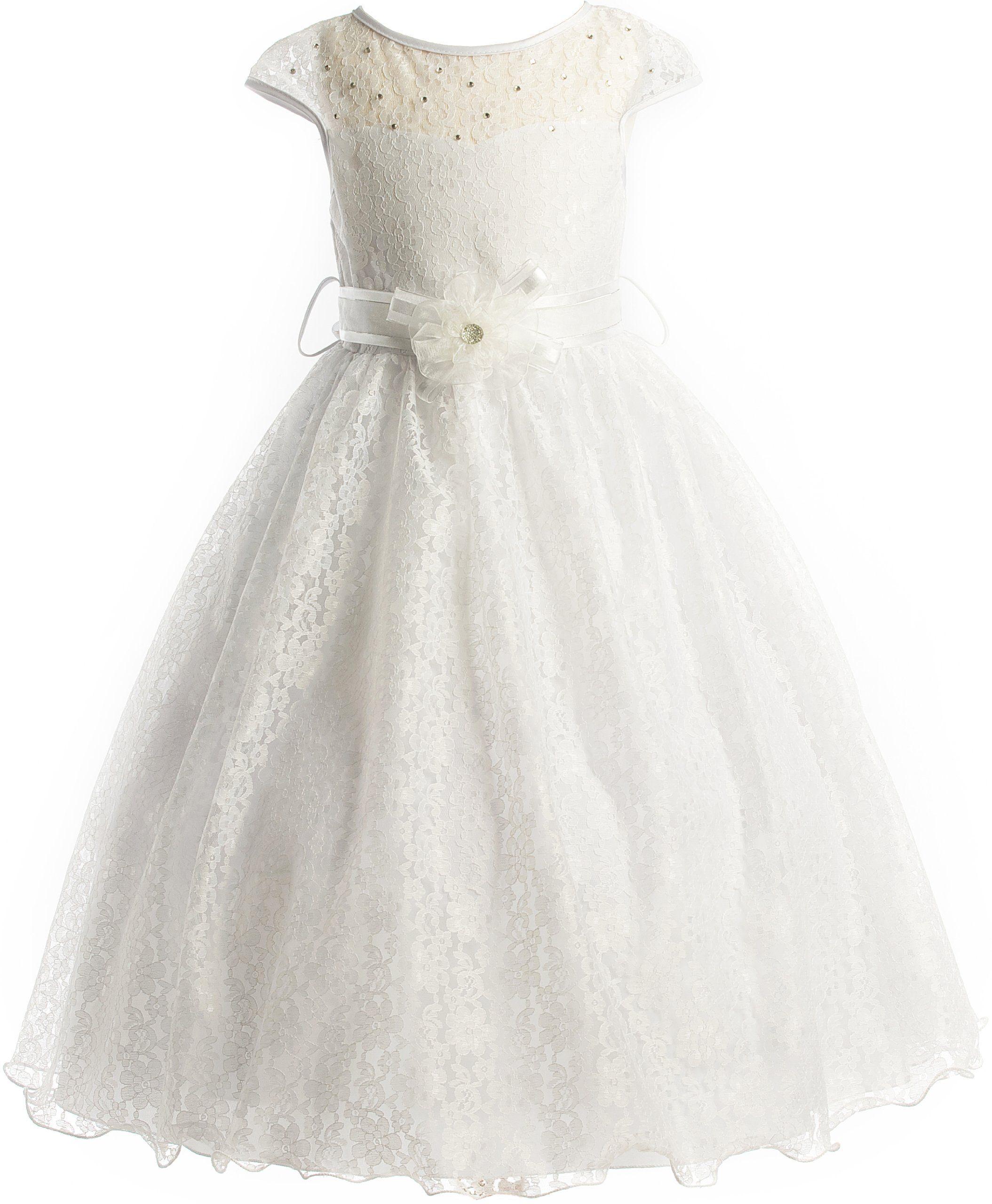 Lace peekaboo bodice communion flower girl pageant long dress