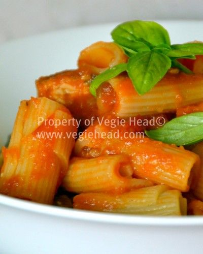 Rigatoni with Tempeh, Olive and Basil Sauce
