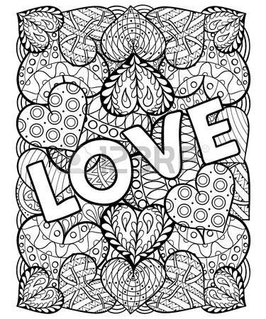 Love: Hand gezeichnet St. Valentinstag künstlerisch ornamental ...