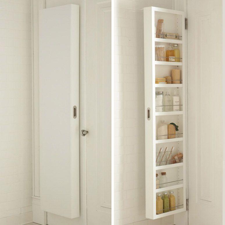 Concealable Door Storage Cabinets Narrow Bathroom Storage