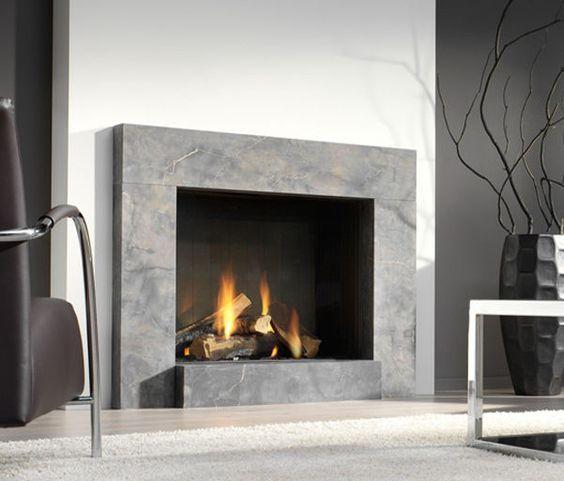 Chimenea Moderna Hogar Cerrado A Gas Largo Platonic Fireplace