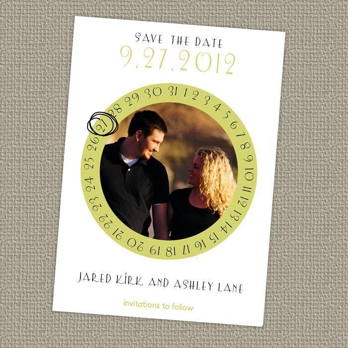circle calendar save the date wedding announcement www.etsy.com/shop/freshlysqueezedcards