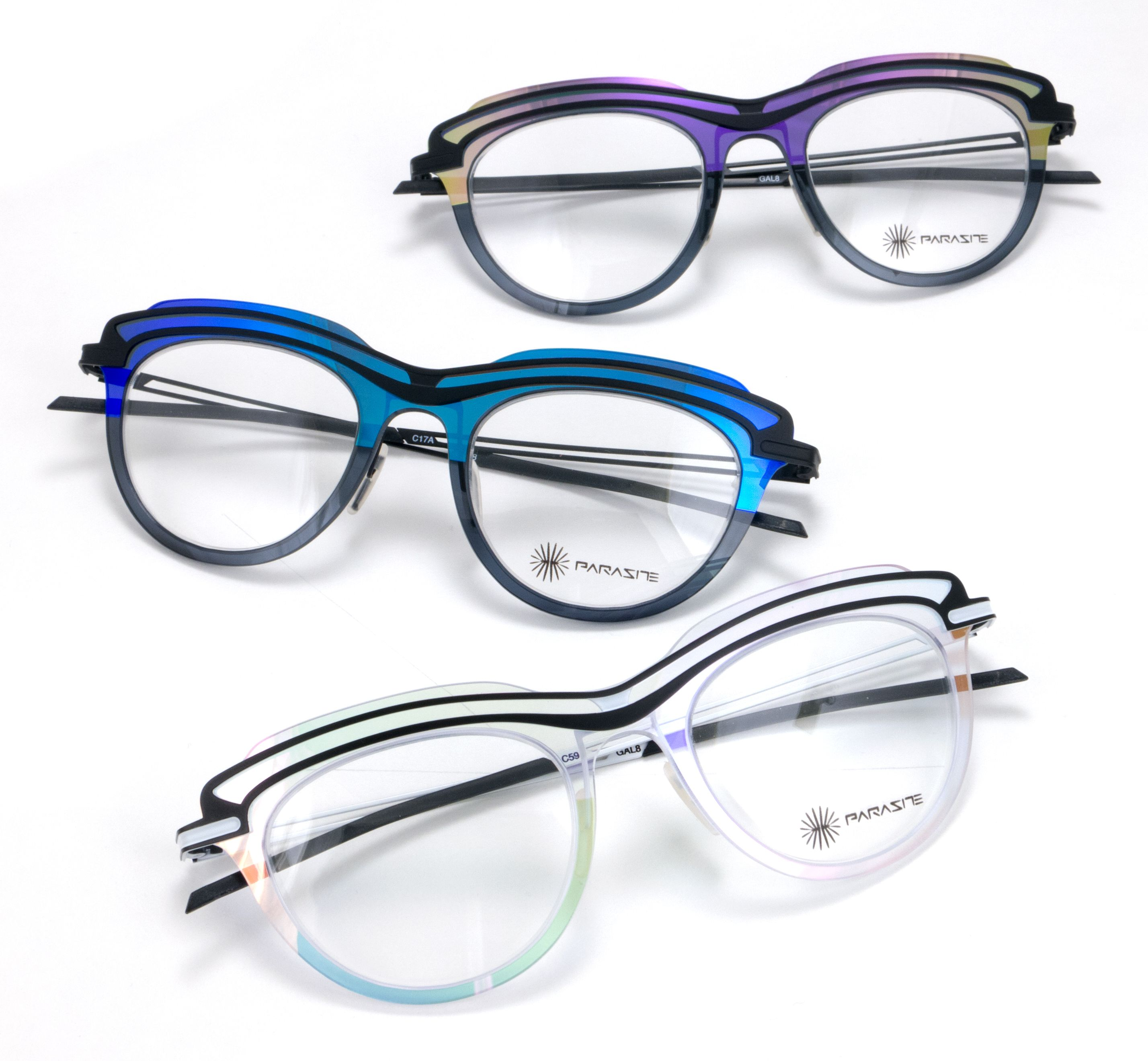 e3d46bd7f6a1 The Parasite Eyewear | Galaxy 8 for women offers an iridescent frame front  for beautiful colors from every angle. Available in 3 colors.