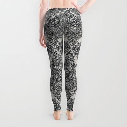 Charcoal Lace Pencil Doodle Leggings by Micklyn   Society6
