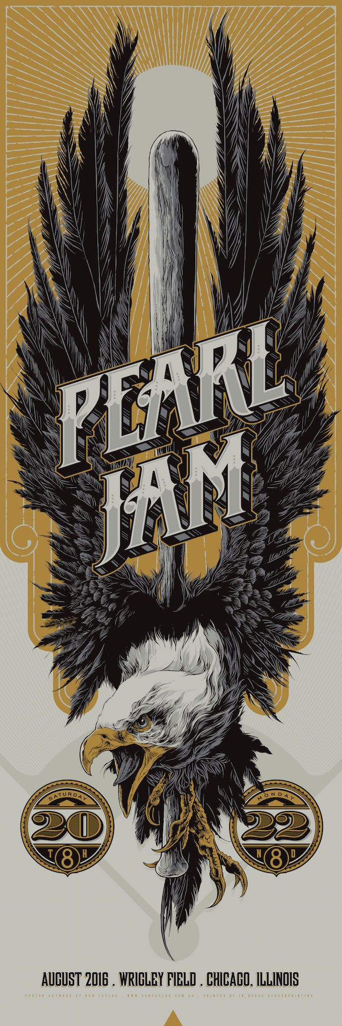Pearl Jam and Dave Matthews Band gig posters by Ken Taylor