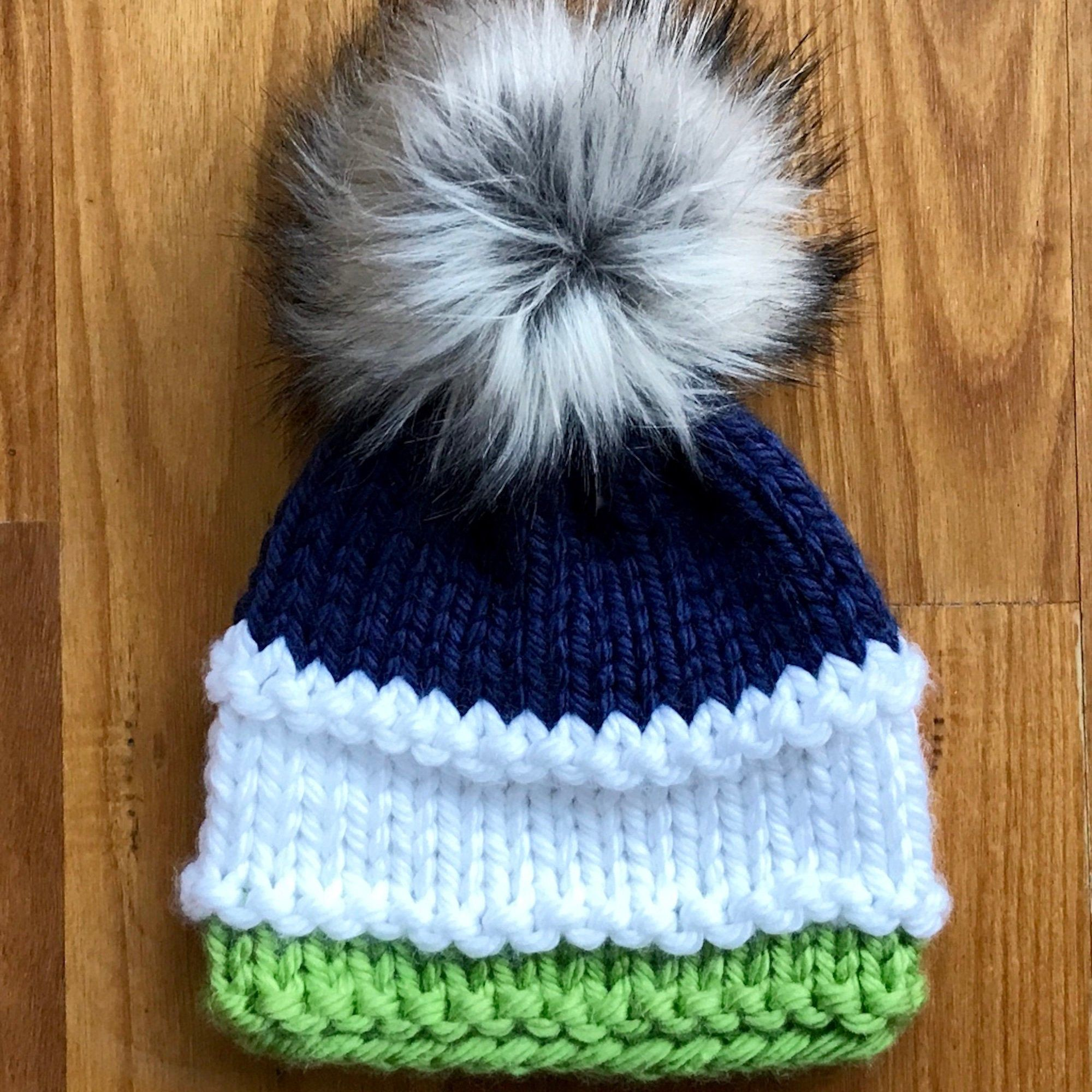Knitted Toddler Baby Bonnet With Pom Pom and String Ships from USA 4 Colors.