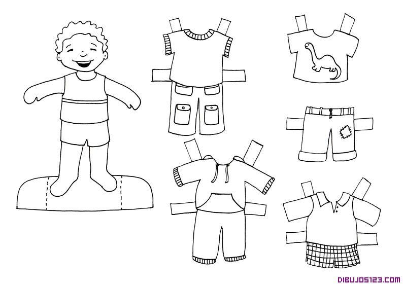 Dibujo de Recortable coloreable de un chico y su ropa | RECORTABLES ...