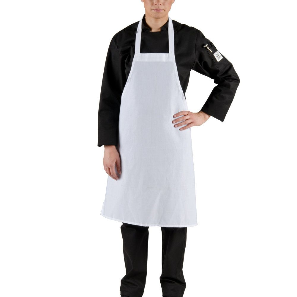 Choice White Full Length Bib Apron - 34\