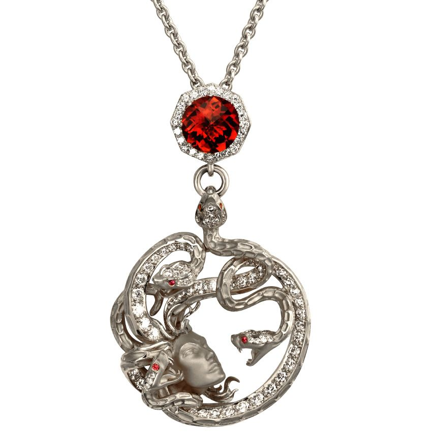 Red Medusa pendant by Jack Monarch Jewelry. White gold, diamonds and ruby