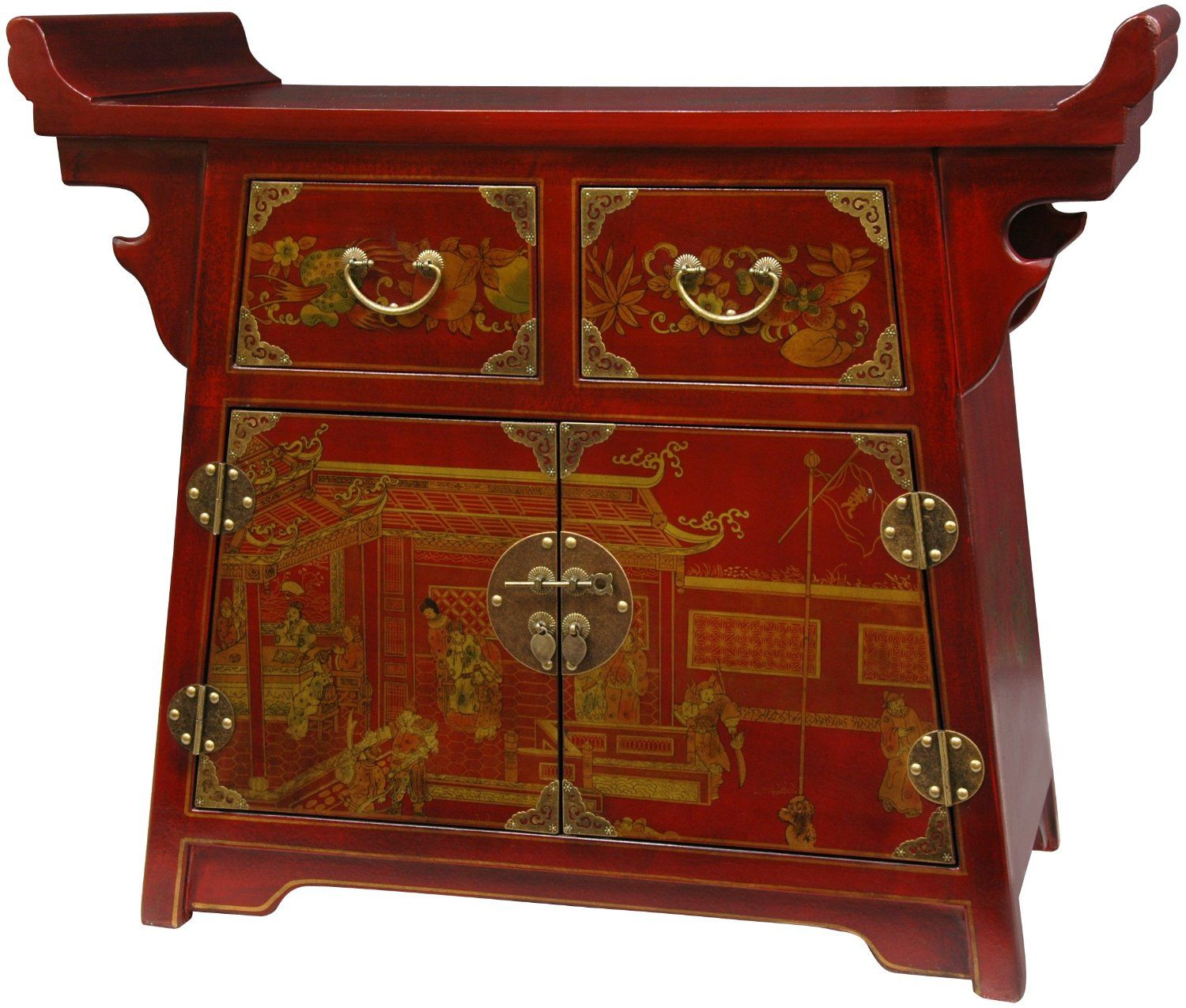 Exceptional Fine Asian Furniture 37 Inch Red Lacquer Village Life Altar Cabinet