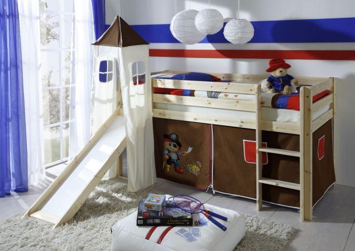 Spielbett  Little Spielbett/Hochbett Kiefer mit Rutsche natur #kinderzimmer ...