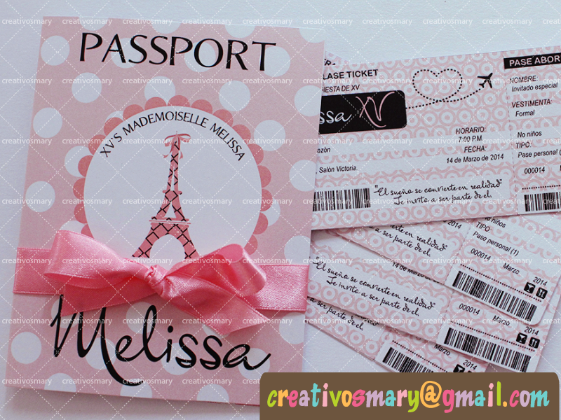 Pasaporte Avion Xv Años Formal Tarjetas 15 Años