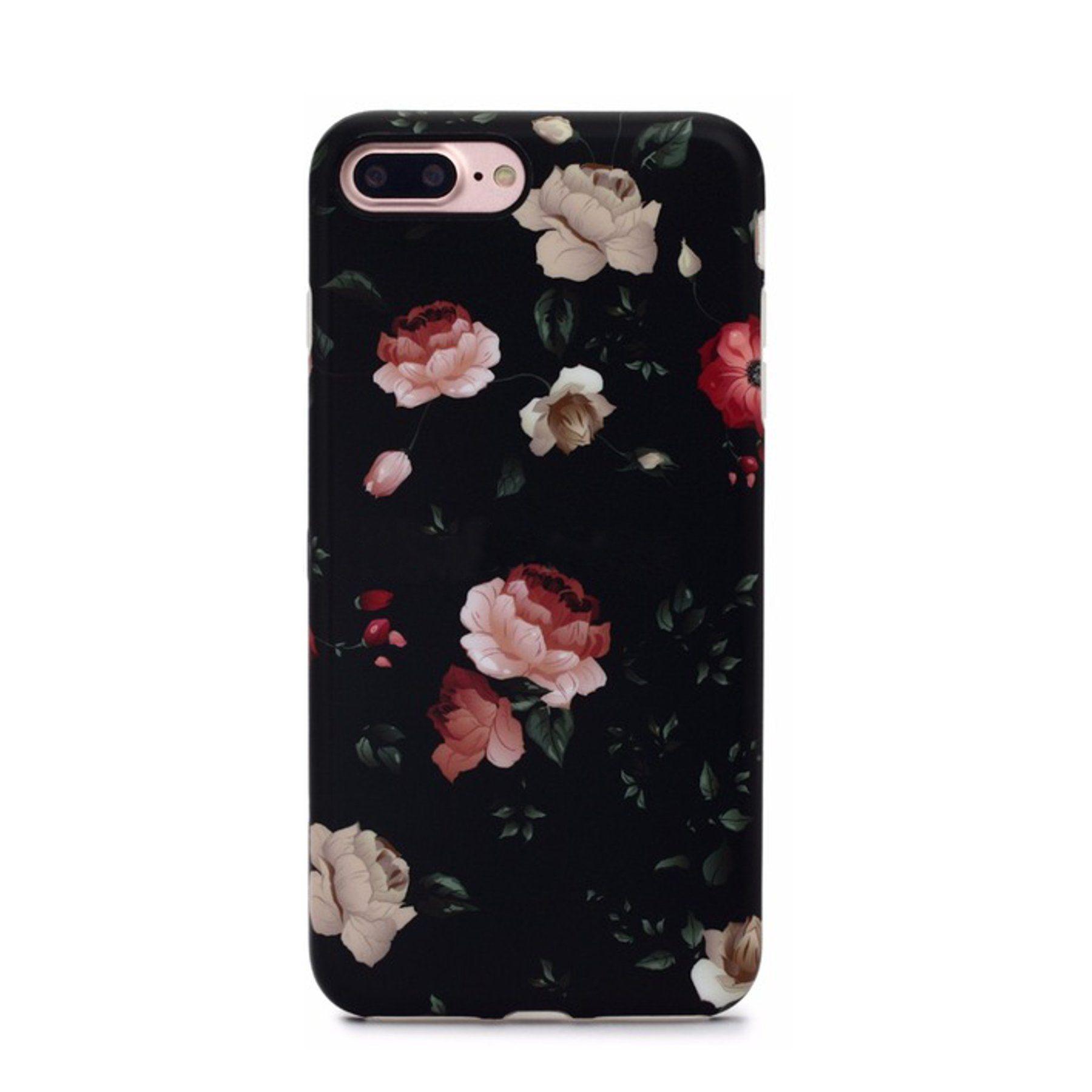 Dark Rose Case For Iphone 8 Plus 7 Plus Roses Protective Case Back Floral Cases Iphone Phone Cases Iphone Case Protective