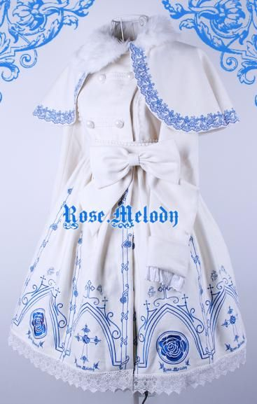 Rose Melody Rosa Crucifix Coat Set - CB1960681 Colors: White / Black / Blue Embroidery: Blue / Gold(+US$10.95) / Silver(+US$10.95) Material: Wool(50%) http://www.clobbaonline.com/index.php?p=1_20