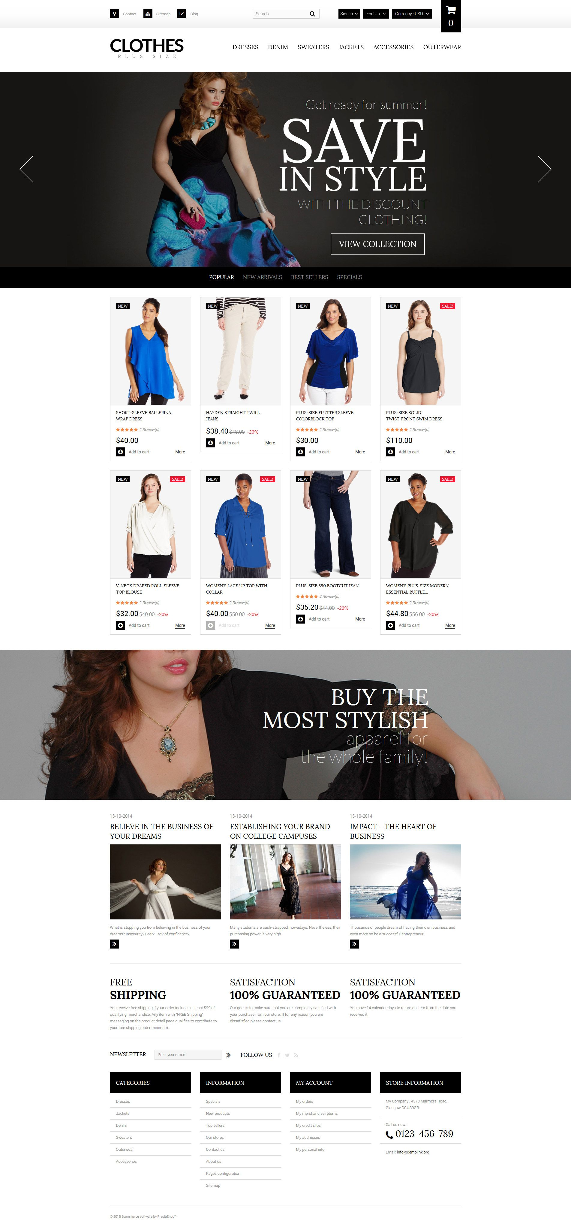 Plus Size Womens Clothing Prestashop Theme Website Template Flat