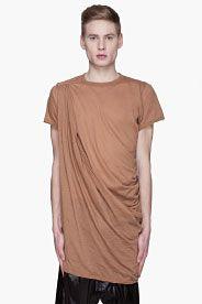 RICK OWENS Tan brown draping Anthem t-shirt