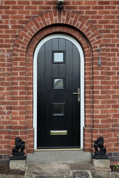 Bespoke Arched Composite Door In Black With White Frame In