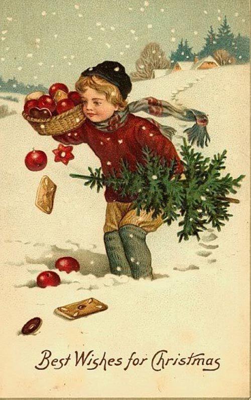 Открытки с рождеством и новым годом ретро