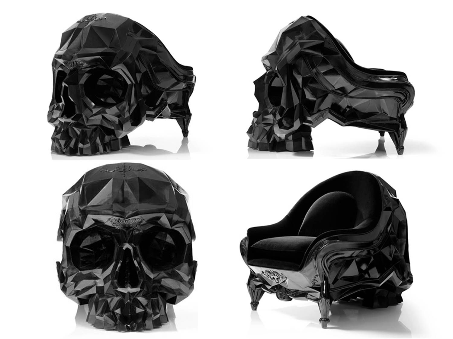 Black skull chair - Geometric Skull Chair By French Artist Harold Sangouard