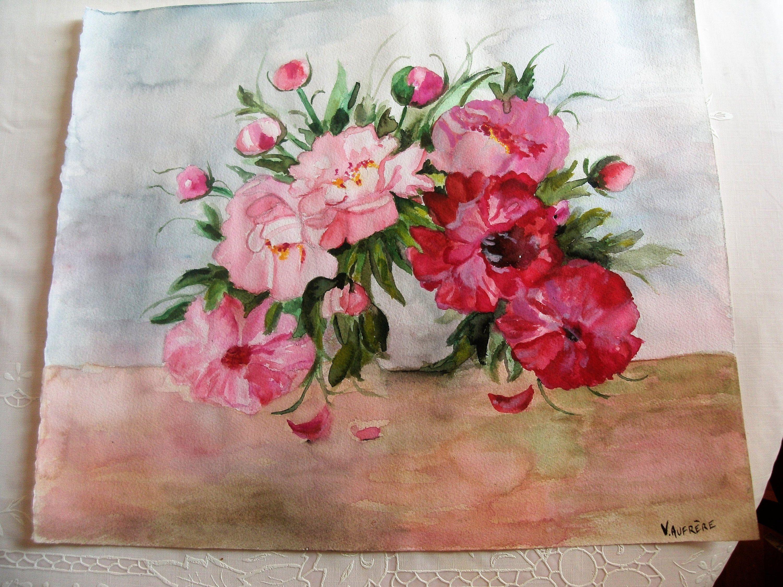 Watercolor Pink Peonies Original Watercolor Peonies Botanical