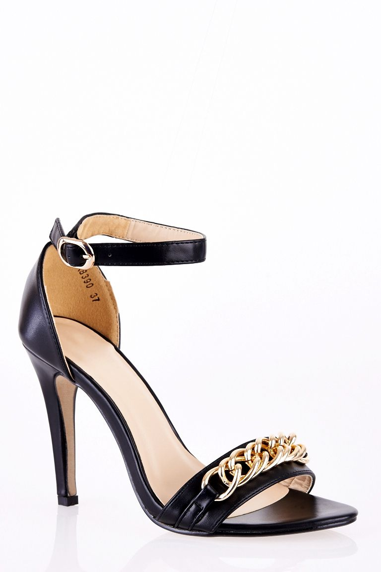 Ankle Strap Stiletto Sandals with Chain Detail - Stylistic Trend